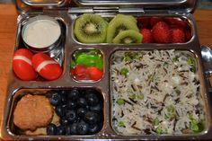 Yogurt, Babybel Cheese, Chocolate Chip cookies, blueberries, Wild Rice/Quinoa/Feta/Peas, strawberries, kiwi, Cherry Gummies