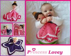 Ejemplo mantita de apego - Princess Lovey Crochet Amigurumi Pattern PDF by AlaSascha on Etsy, $3.99