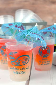 Serve your favorite beverages in reusable, 16 oz custom printed plastic summer party souvenir cups personalized with summertime themed design and your own message. Party Items, Party Gifts, Adult Birthday Party, Personalized Cups, Party Cups, Milestone Birthdays, Cocktails, Drinks, Family Christmas