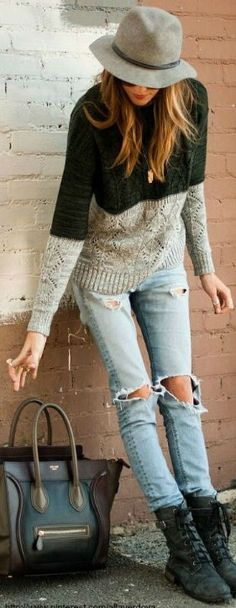 Chunky knit sweater and distressed denim #fall #winter