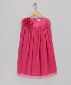 Take a look at this Hot Pink Floral Tulle Shift Dress - Toddler on zulily today!