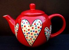 Red teapot with hearts and polka-dots, three of my favorite things! Red Teapot, Teapots Unique, Paint Your Own Pottery, Garden Parties, I Love Heart, Teapots And Cups, Pot Sets, Chocolate Pots, Pottery Painting