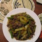 Asian Ground Beef and Pepper Saute: I found this recipe when I was hungry for Asian food but had ingredients for tacos. Really good!