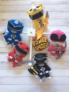 Baby Crib Mobile - Power Rangers - Nursery Star Wars Mobile - Power Rangers Logo, Pawer Rangers, Baby Crib Mobile, Baby Cribs, Star Nursery, Felt Ornaments, Pottery Barn Kids, Felt Crafts, Wool Felt
