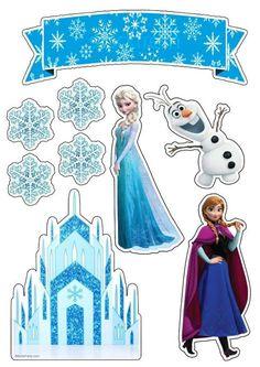 Frozen Cupcake Toppers, Frozen Cupcakes, Frozen Cake Topper, Birthday Cake Toppers, Frozen Birthday Party, Frozen Theme Party, Happy Birthday, Bolo Frozen, Frozen 1
