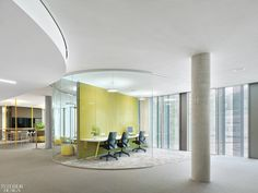 Studio Alexander Fehre recently completed the headquarters design for Bosch Automotive Steering located in Schwäbisch Gmünd, Germany. The new building was Fabric Covered Walls, Open Office, Office Spaces, Work Spaces, Airport Design, Traditional Office, Arc Lamp, Space Photography, Glass Facades
