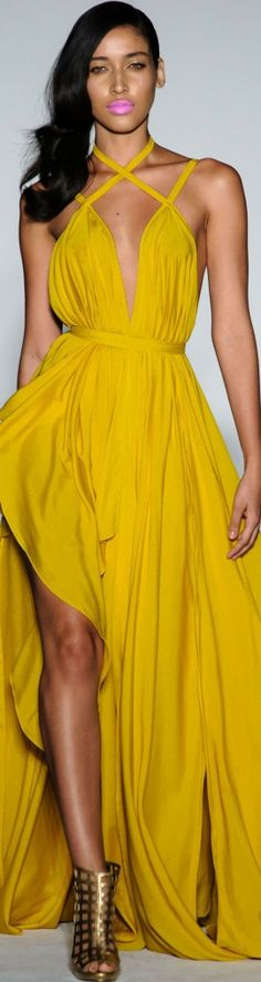 This COLOR is amazing on this gorgeous dress.  I would pair it with a strappy heel though in a bright teal maybe...Michael Costello SpringSummer 2016 H