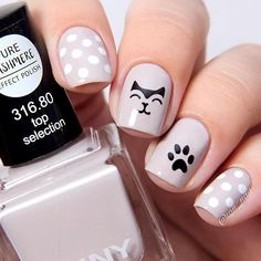 Amazing Cat Nails Designs For You. Cat nails designs are the ones that you can`t miss trying. Cat Nail Art, Cat Nails, Nail Manicure, Manicures, Nail Polish, Trendy Nail Art, Stylish Nails, Cat Nail Designs, Nails Design