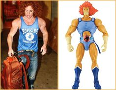 Carrot Top training for his role at Lion-o in the new Thundercats movie.