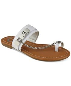 G by Guess Loren Toe Ring Sandals - White 8.5M
