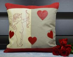 This valentine love pillow made using finest quality canvas and genuine leather is sure to enhance your valentines decor. Shades this heavy duty canvas takes over time make it a special fabric. A thick yet delicate leather is used to make the most important feature of this pillow, THE HEARTS. Made to last, both canvas and leather age very well and keep looking better.SageMadeDesign