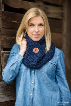 Chunky Button Cowl - Versatile, wool blend cowl scarf in Navy Blue, featuring a stylish carved wood button.