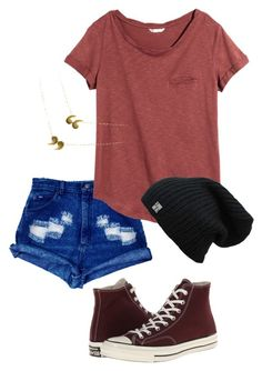 """""""Untitled #232"""" by n23da ❤ liked on Polyvore featuring Converse and H&M"""