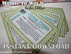 Minute To Win It Easter Edition Printable - fun games and relays for family game night, a party or an egg hunt!