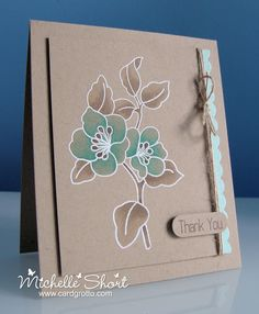handmade card on kraft ... luv the look of this card ... white embossing and colored with Copics ...