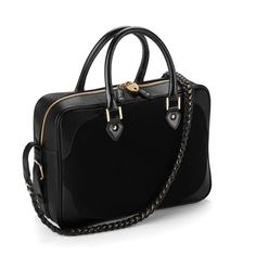 Sofia Bag in Black Nubuck & Black Saffiano from Aspinal of London