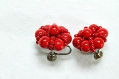 Red glass bead cluster screw on earrings 1950s by WrensNestVintage, $7.00