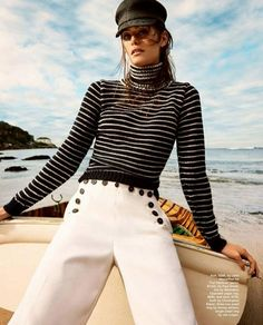 NAUTICAL FASHION Yacht Fashion, Boat Fashion, Spring Fashion, Curvy Fashion, Fashion Women, Nautical Outfits, Nautical Fashion, Marie Claire, Color Palettes
