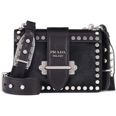 Prada Cahier Leather Shoulder Bag (46.951.265 IDR) ❤ liked on Polyvore featuring bags, handbags, shoulder bags, black, genuine leather shoulder bag, 100 leather handbags, leather handbags, shoulder bag handbag and prada purses