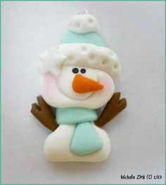 NEW Polymer Clay Charm Stick arm Snowman in Mint