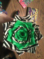 green zebra flower pen