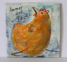 IMMER AUF ZACK ! von Herbivore11 Huhn Henne Minibild Unikat Inchie kleine Kunst