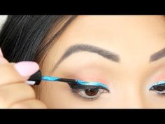 Tropical/Beach Inspired Tutorial (Bold Blue Liner)  Not sure if PRINCESSJOILES likes punk rock but this makeup would look bad-ass with a leather jacket.