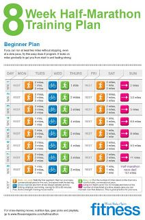 """8 week half-marathon training plan- my is going to come sooner than I want it to.better check the half-marathon off my """"to do"""" list! Exercise Fitness, Sport Fitness, Fitness Tips, Health Fitness, Physical Exercise, Fitness Fun, Exercise Plans, Video Fitness, Fitness Routines"""