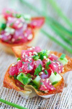 Freshly prepared tuna tartare in crispy wonton cups is a bright and elegant crowd pleasing appetizer.