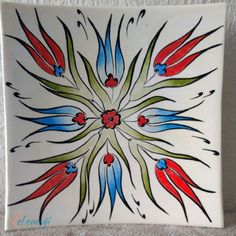 Easy Flower Drawings, Ceramic Tile Art, Turkish Art, Crewel Embroidery, Tile Patterns, Glass Design, String Art, Flower Art, Modern Art