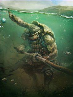 Creatures from Dreams — Ninja turtle by Sergey Vasnev Dark Fantasy Art, Fantasy Artwork, Fantasy World, Fantasy Monster, Monster Art, Creature Concept Art, Creature Design, Mythical Creatures Art, Fantasy Creatures