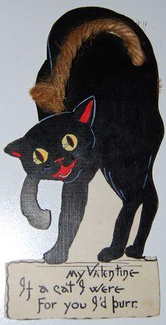 Black cat Valentine's card.