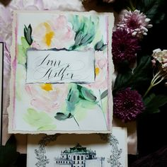 Blush wedding invitations with hand painted acrylic details and venue illustration by Crimson Letters. Hit the link to visit the full collection.