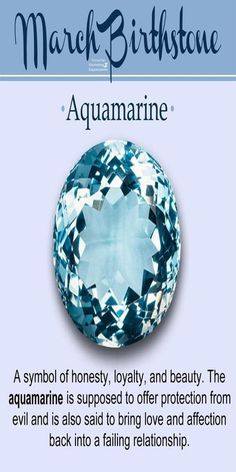 Aquamarine Gemstone-Birthstone of March There are two birthstones for people born in March, one of them is known as Aquamarine and the other one is called blood-stone. Aquamarine as evident from … Birthstones Meanings, Birthstones By Month, Crystals And Gemstones, Stones And Crystals, Gem Stones, March Baby, Hello March, Month Of March, 23 March