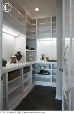 Walk-in-pantry with counter space for appliances with baskets on shelves. Add pull out shelves, with no ugly fluorescent lights.