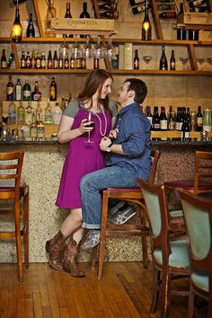 Wine Bar with boots engagement picture