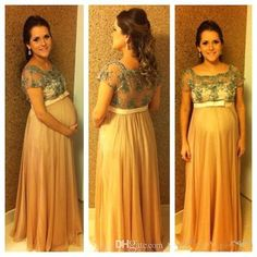 2015 New Beaded Maternity Evening Dress Formal Party Bridesmaid Prom Gown Simple