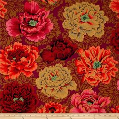 Kaffe Fassett Collective Brocade Peony Autumn from @fabricdotcom  Designed by Philip Jacobs for Westminster Fabrics, this cotton print is perfect for quilting and craft projects as well as apparel and home décor accents. Colors include black, burgundy, orange, coral, peach, pink, brown, cream, green and magenta.