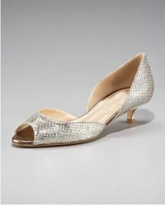 Silver Open Toe Shoes Low Heel | Tsaa Heel
