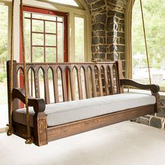 Nostalgic Cathedral Red Cedar Sofa Deep Porch Swing Perfect style for a Tudor style house with the covered side porch in Pgh!