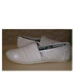 Womens Sparkly White or Ivory Glitter Toms Flats shoes bridal Bride Wedding Comfortable - Glitter Shoe Co