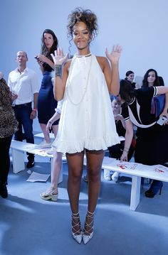 In her friend Adam Selman's design at his Spring/Summer 2015 fashion show. - ELLE.com