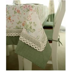 Diaidi French Country Tablecloth, Dot Floral Table Cloth, Splicing Green Lace Table Cover, Dinning Restaurant Table Overlays, Vintage Style byTo extend a tablecloth that is too small Country Style Living Room, Country Style Homes, French Country House, French Country Decorating, Farmhouse Style, Farmhouse Decor, Shabby Chic Pink, Primitive Homes, Country Home Exteriors