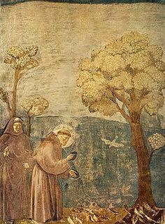 Giotto - Legend of St Francis - - Sermon to the Birds - Saint Francis cycle in the Upper Church of San Francesco at Assisi - Wikimedia Commons Saint Francis Prayer, St Francis, Papa Francisco, Photo Images, Bing Images, Francis Of Assisi, Free Art Prints, Sacred Art, Renaissance Art