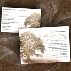Brown Nature Themed Wedding Invitations