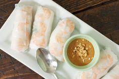 Vietnamese shrimp spring rolls with peanut dipping sauce. one of my favorite foods ever, must try.