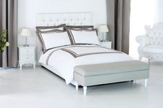 Luxury Alessa duvet cover set is classy &, refined. A beautiful, fresh and smooth, made of pure long-staple Egyptian cotton sateen fabric woven in Italy with a smooth border of cotton sateen. TC 300, upon which is applied a trim that gives the garment a double brilliance. We help you get a more comfortable and altogether better night's sleep.  Fabric designed and woven in Italy. Duvet Set includes 1 Duvet Cover & 2 Pillow Shams.  Satisfaction guaranteed Set made in Italy Duvet Sets, Duvet Cover Sets, Egyptian Cotton, Luxury Bedding, Pillow Shams, Woven Fabric, Fabric Design, Smooth, Sleep