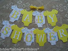 10-Bunting-Flags-Banners-Garland-Onesies-BABY-SHOWER-Yellow-Unisex-DIY-Decor