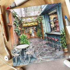 Architecture in Bright Color Drawings Interior Architecture Drawing, Interior Design Renderings, Watercolor Architecture, Architecture Design, Colorful Drawings, Art Drawings, Desenhos Gravity Falls, Building Drawing, Marker Art