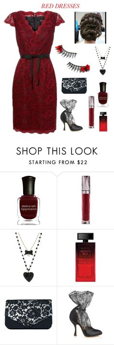"""""""Red dress contest"""" by im-karla-with-a-k ❤ liked on Polyvore featuring Dolce&Gabbana, Deborah Lippmann, Urban Decay, Betsey Johnson, Elizabeth Arden, Vivienne Westwood, women's clothing, women, female and woman"""